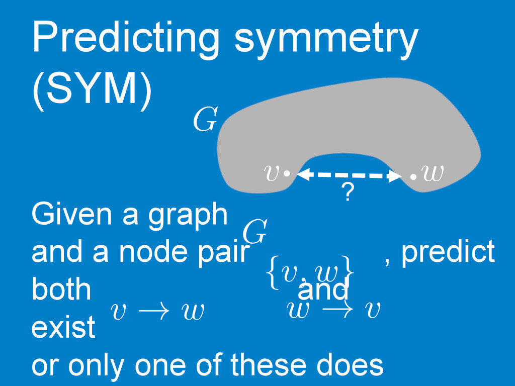 v w ?   G Predicting symmetry (SYM) Given a ...