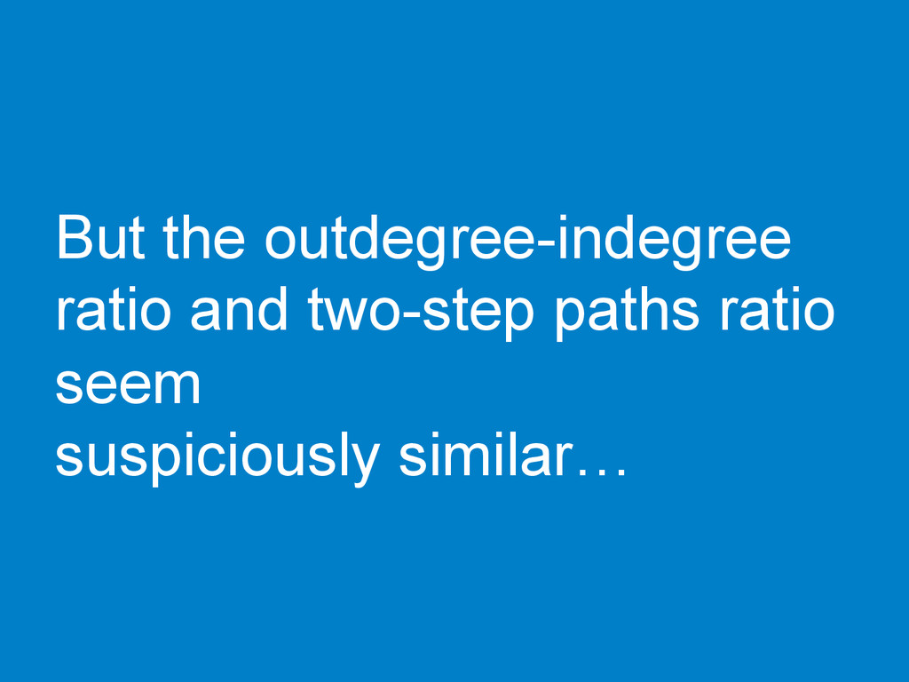 But the outdegree-indegree ratio and two-step p...