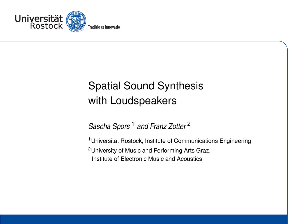 Spatial Sound Synthesis with Loudspeakers Sasch...