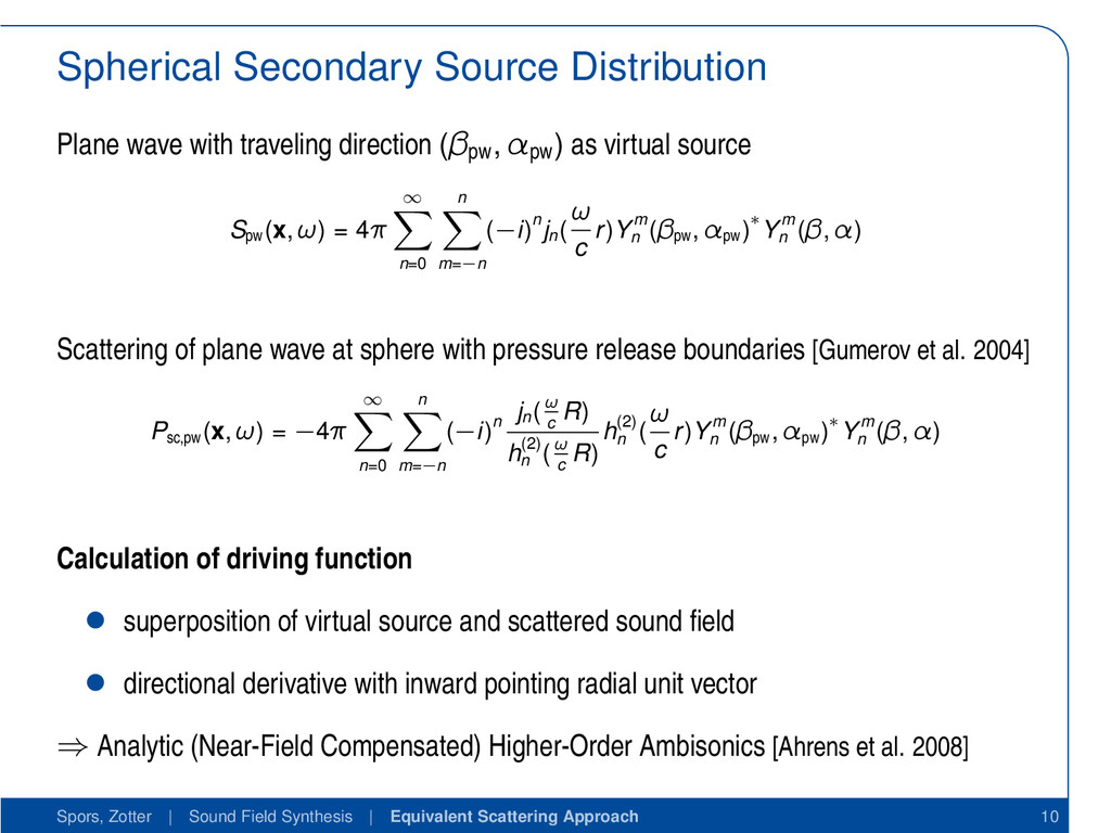 Spherical Secondary Source Distribution Plane w...