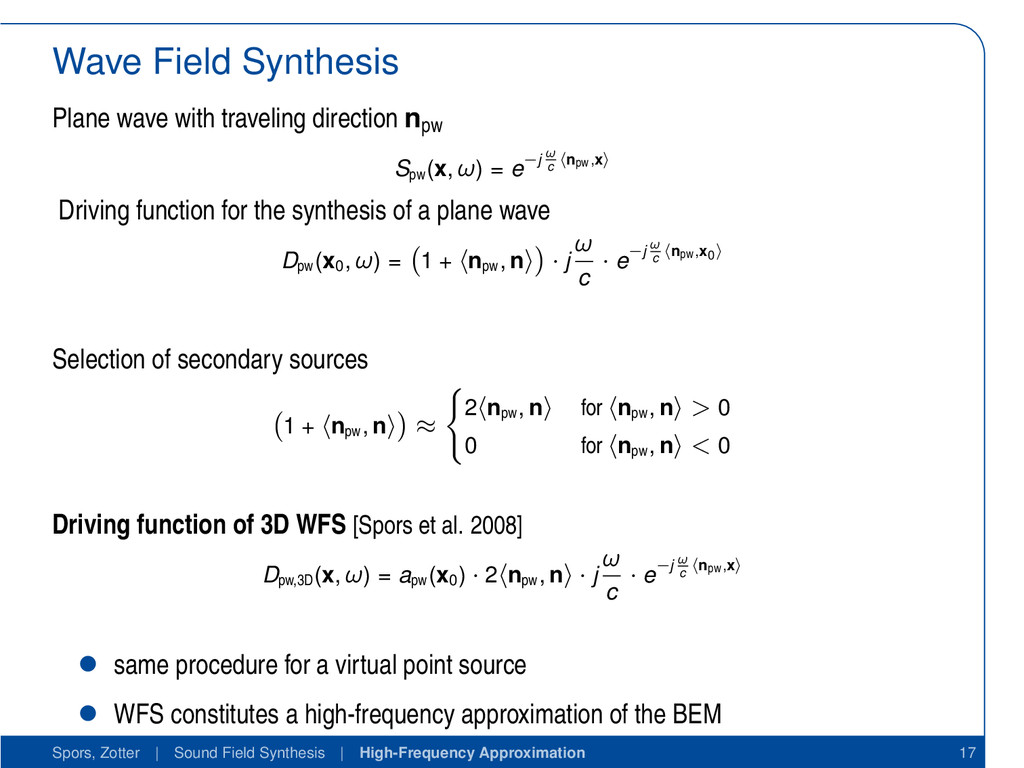 Wave Field Synthesis Plane wave with traveling ...