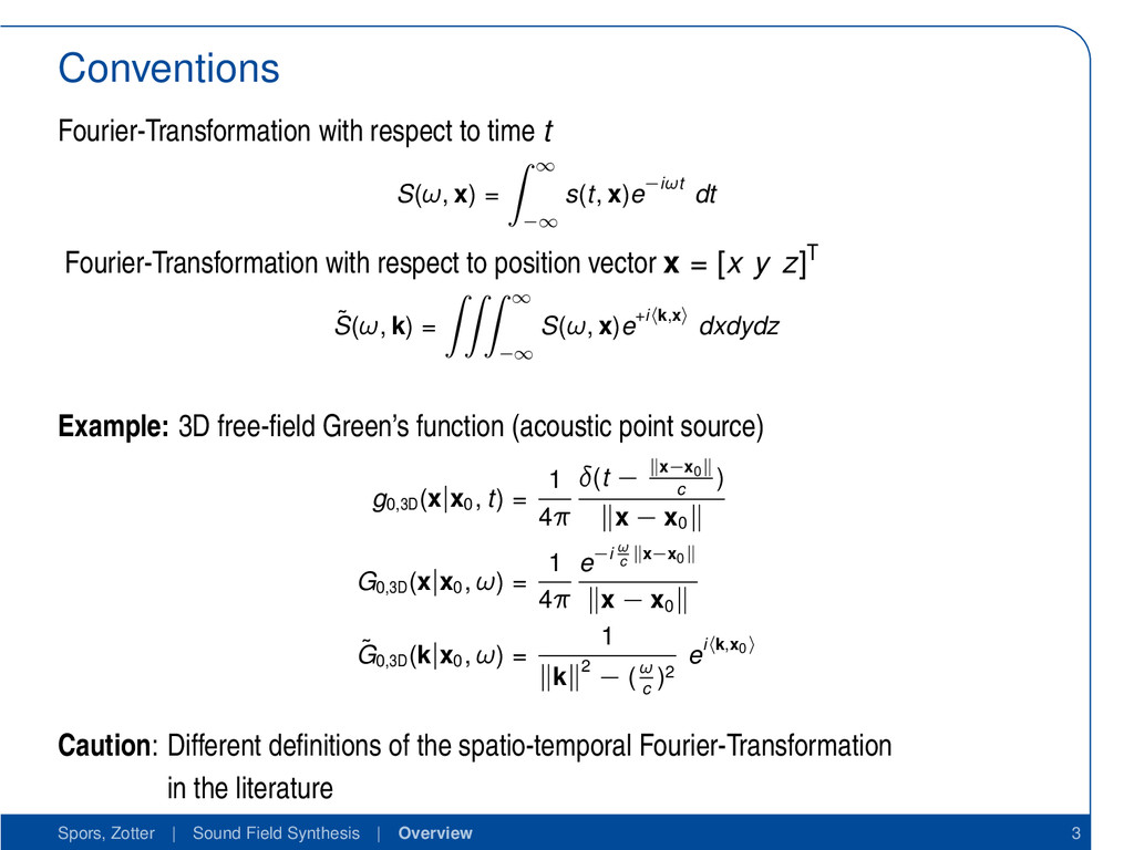 Conventions Fourier-Transformation with respect...
