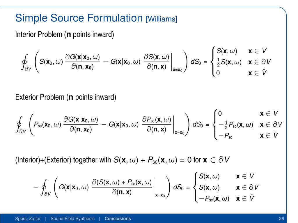 Simple Source Formulation [Williams] Interior P...