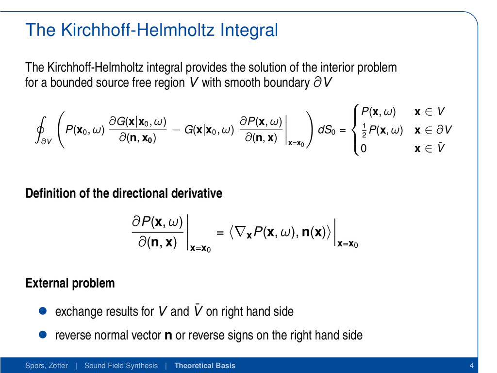The Kirchhoff-Helmholtz Integral The Kirchhoff-...