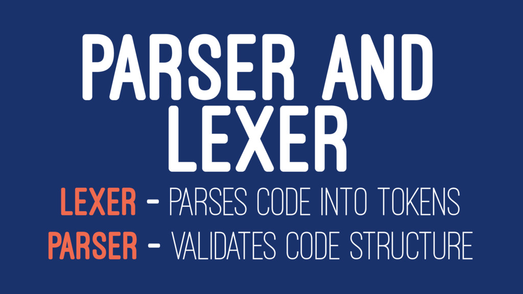 PARSER AND LEXER LEXER - PARSES CODE INTO TOKEN...