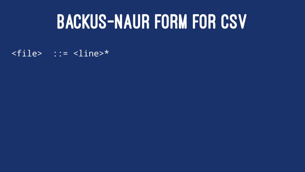 BACKUS–NAUR FORM FOR CSV <file> ::= <line>*