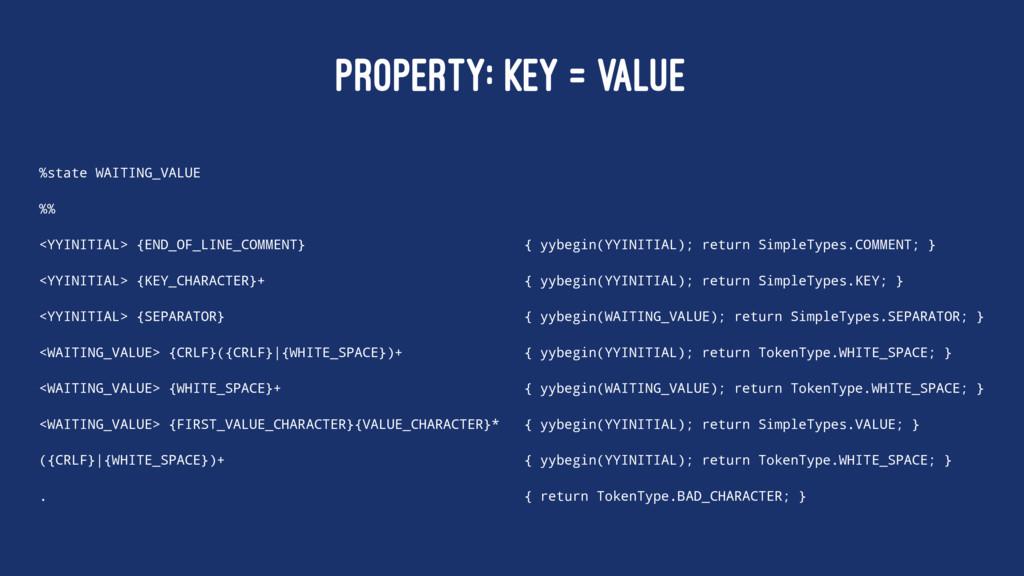PROPERTY: KEY = VALUE %state WAITING_VALUE %% <...
