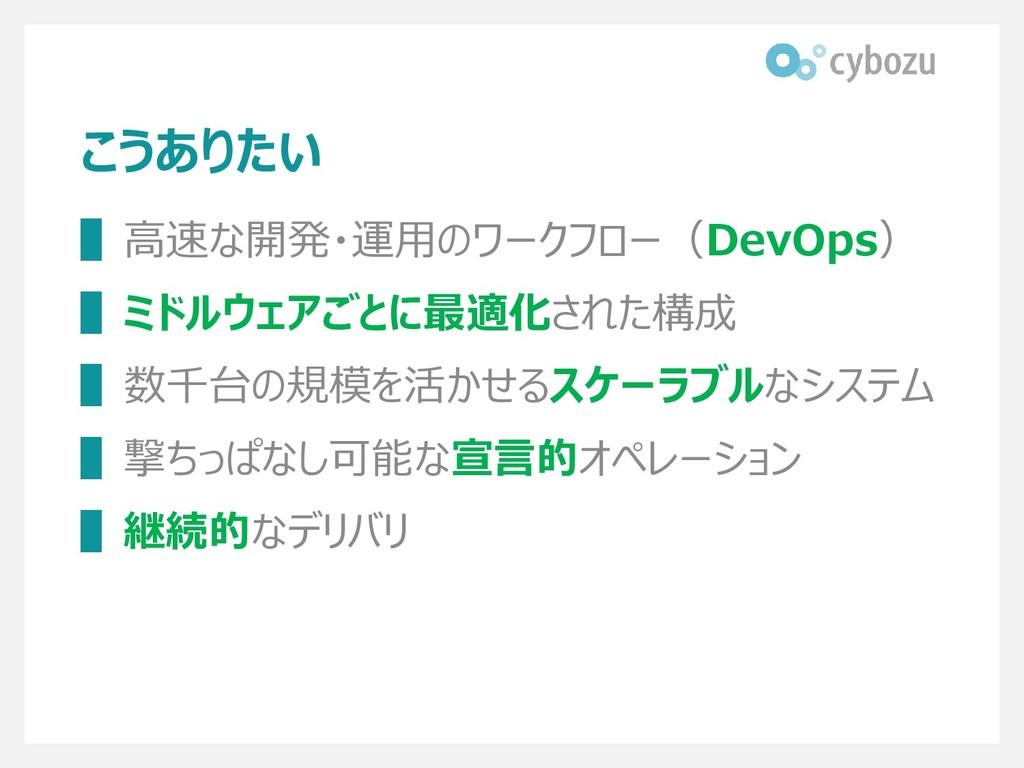 こうありたい ▌高速な開発・運用のワークフロー(DevOps) ▌ミドルウェアごとに最適化され...