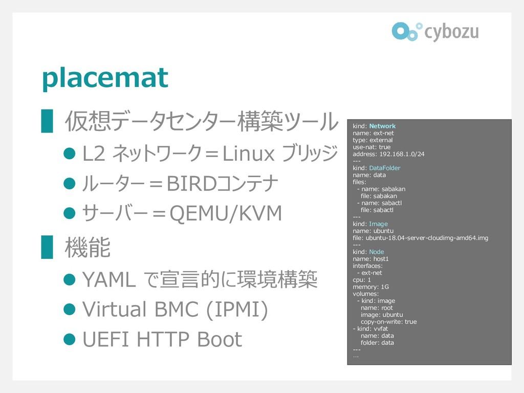 placemat ▌仮想データセンター構築ツール ⚫ L2 ネットワーク=Linux ブリッジ...