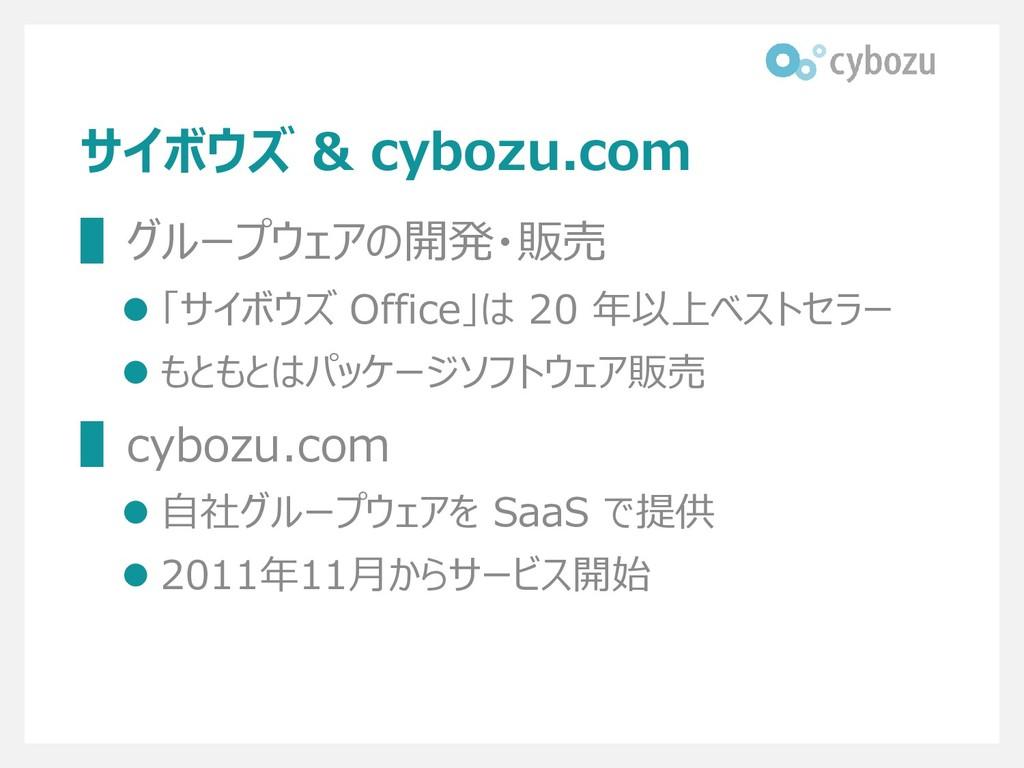 サイボウズ & cybozu.com ▌グループウェアの開発・販売 ⚫ 「サイボウズ Offi...