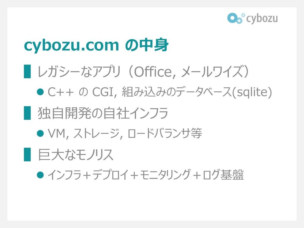 cybozu.com の中身 ▌レガシーなアプリ(Office, メールワイズ) ⚫ C++ ...
