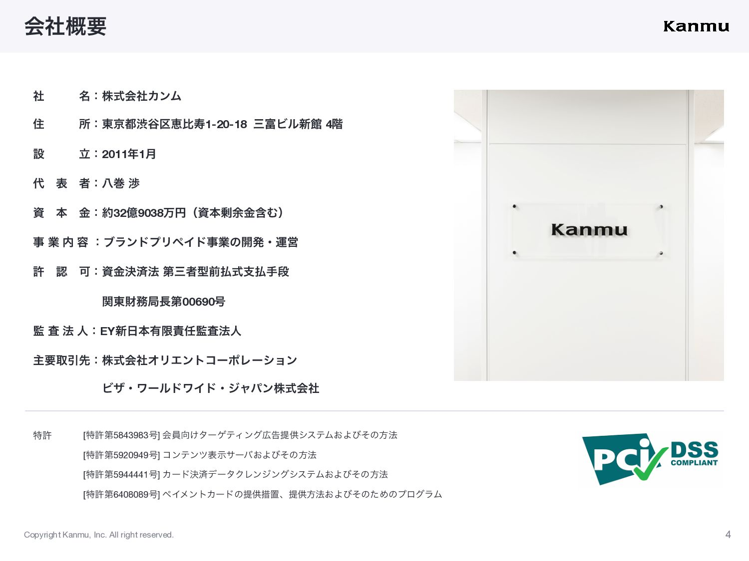 Copyright Kanmu, Inc. All right reserved. 会社概要 ...