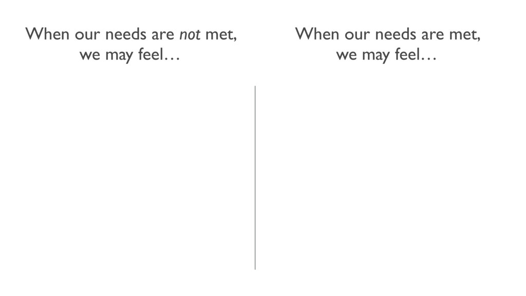 When our needs are met, we may feel… When our n...