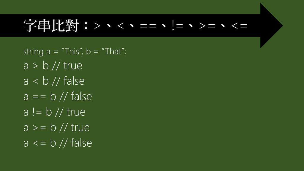 """string a = """"This"""", b = """"That""""; a > b // true a ..."""