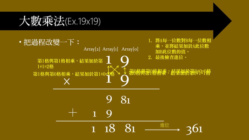 大數乘法(Ex.19x19) • 把過程改變一下: 1 9 1 9 × + 1 18 81 進...