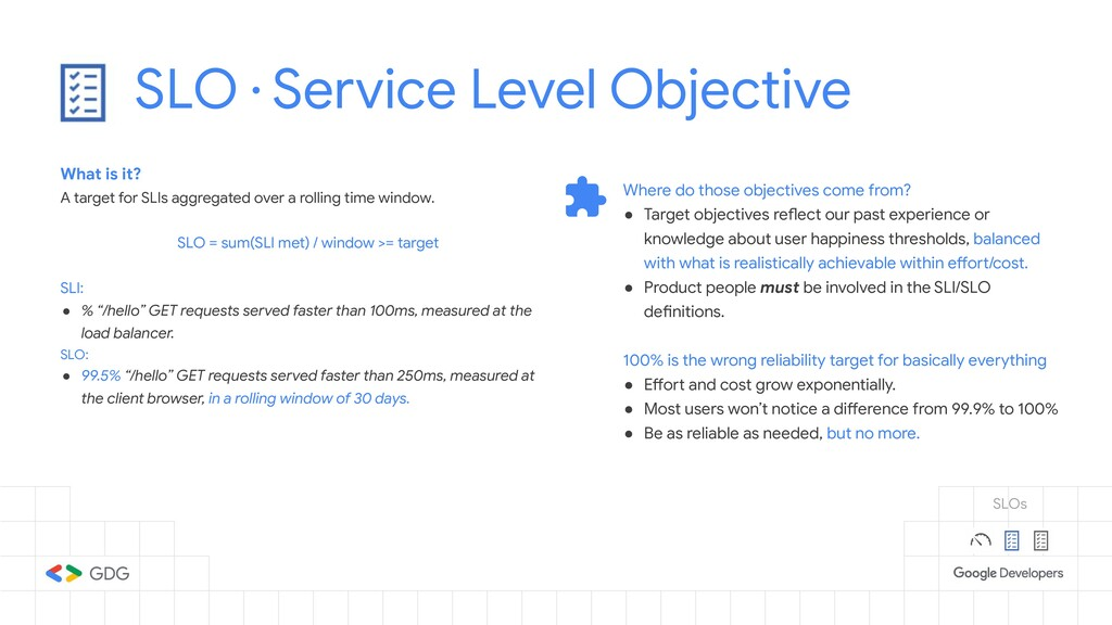 SLO · Service Level Objective What is it? A tar...