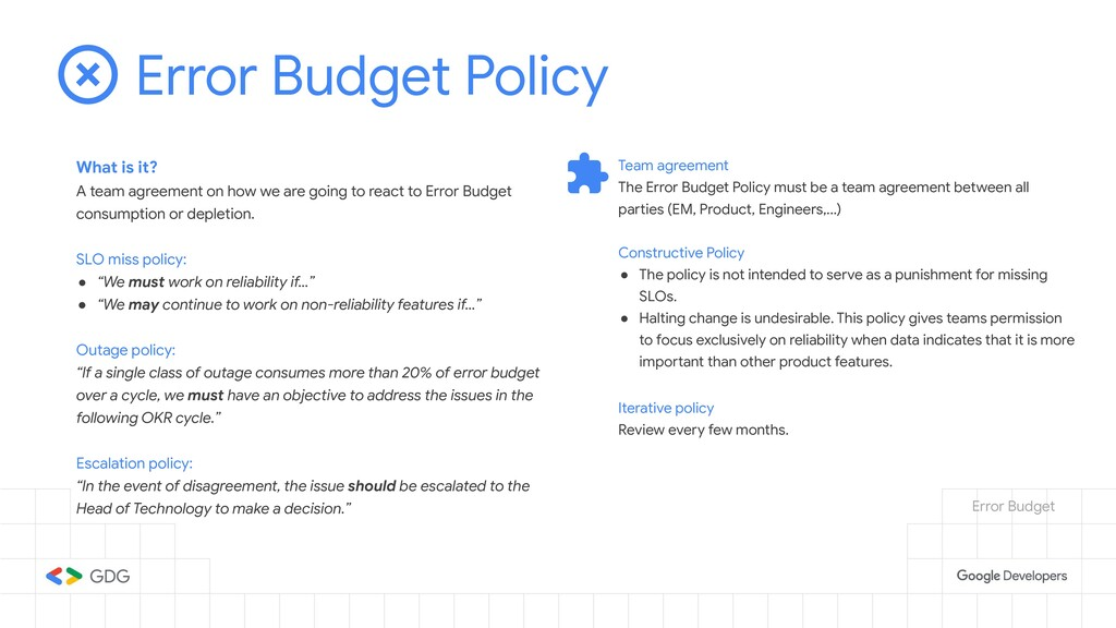 Error Budget Policy What is it? A team agreemen...