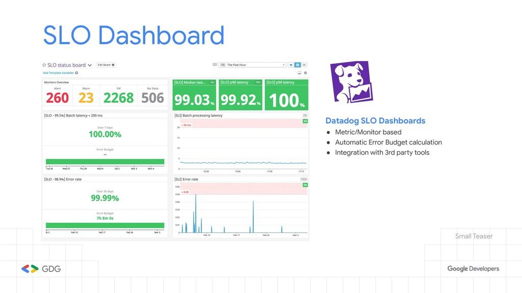 SLO Dashboard Datadog SLO Dashboards ● Metric/M...