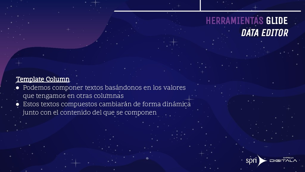 HERRAMIENTAS GLIDE DATA EDITOR Template Column ...
