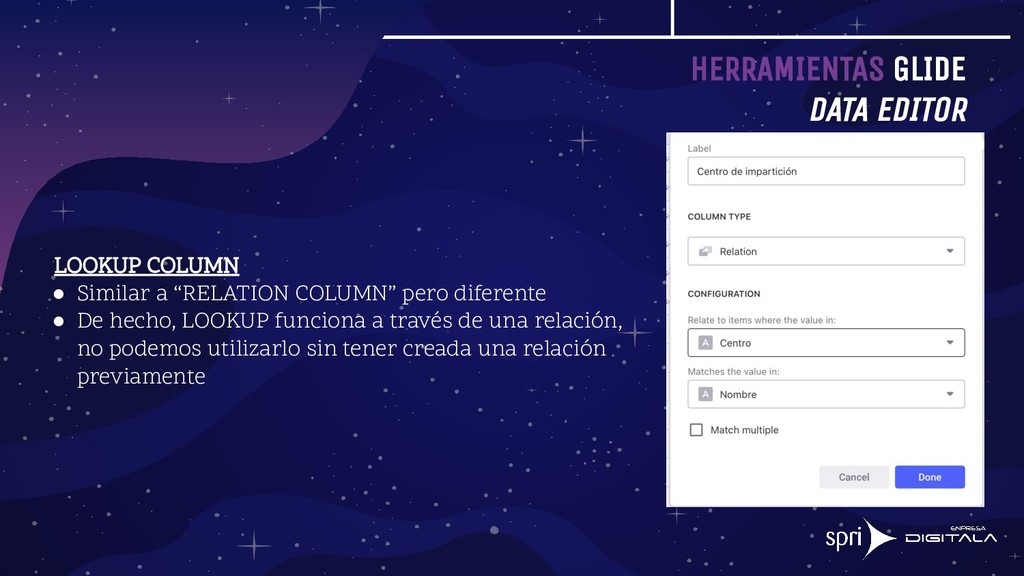 HERRAMIENTAS GLIDE DATA EDITOR LOOKUP COLUMN ● ...