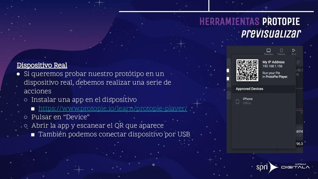 HERRAMIENTAS PROTOPIE Previsualizar Dispositivo...