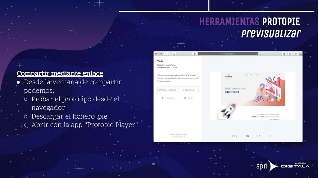HERRAMIENTAS PROTOPIE Previsualizar Compartir m...