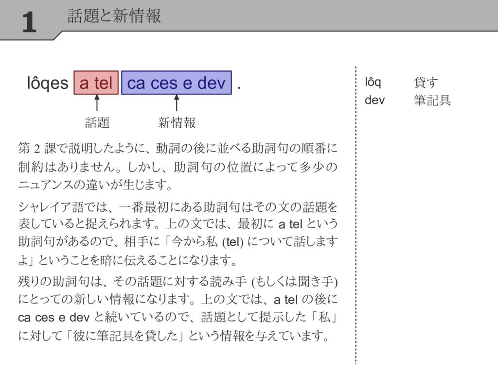 1 話題と新情報 lôq dev 貸す 筆記具 第 2 課で説明したように、 動詞の後に並べる...