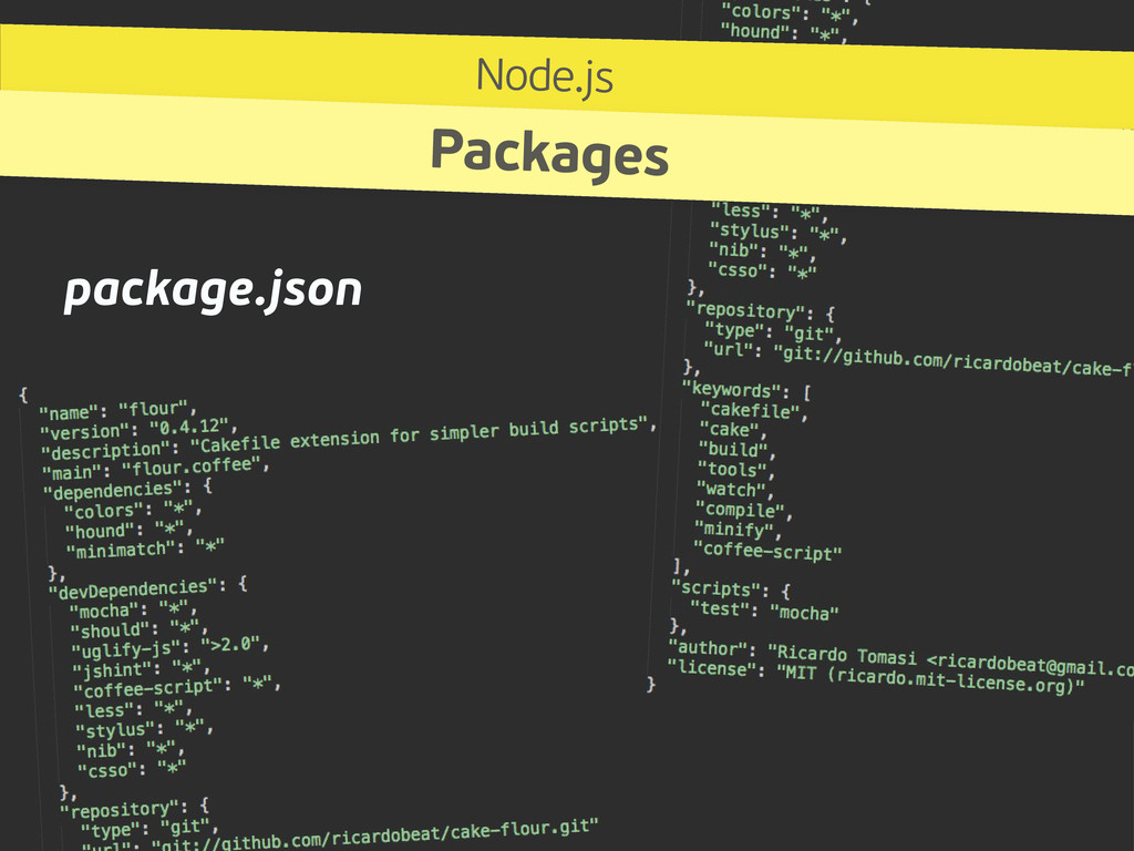 package.json Node.js Packages