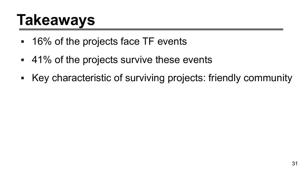 31 Takeaways ▪ 16% of the projects face TF even...