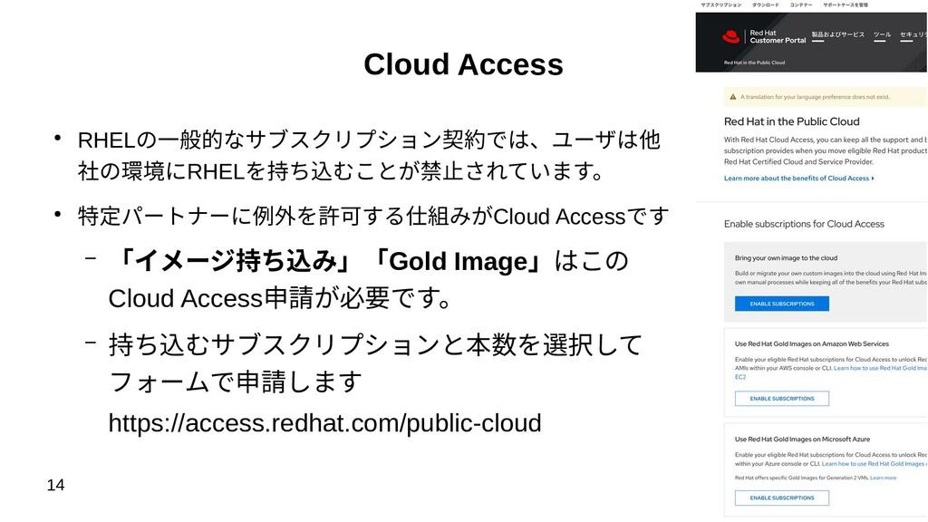 14 Cloud Access ● RHELの一般的なサブスクリプション契約では、ユーザは他 ...