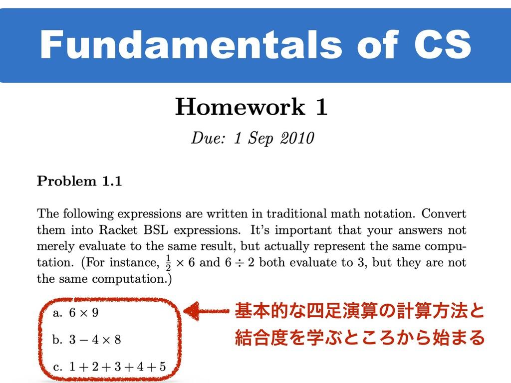 Fundamentals of CS جຊతͳԋͷܭํ๏ͱ ݁߹ΛֶͿͱ͜Ζ͔Β·Δ