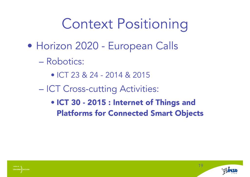 Context Positioning • Horizon 2020 - European C...