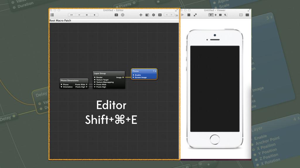 Editor Shift+⌘+E