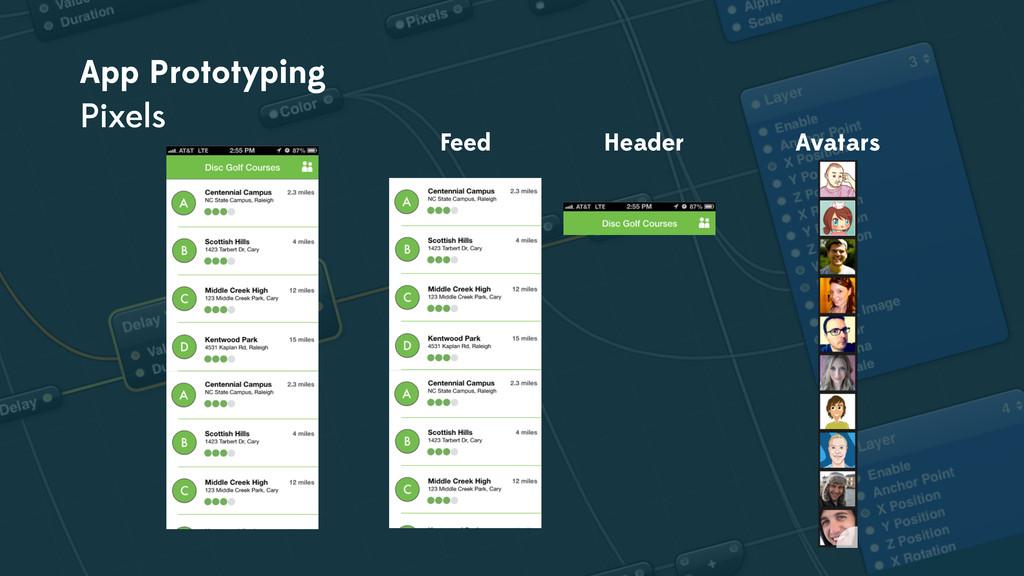 App Prototyping Pixels Feed Header Avatars