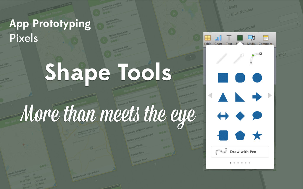 App Prototyping Pixels Shape Tools More than me...
