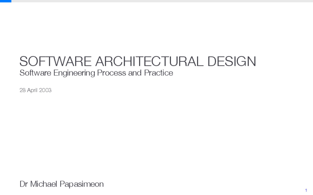 SOFTWARE ARCHITECTURAL DESIGN Software Engineer...