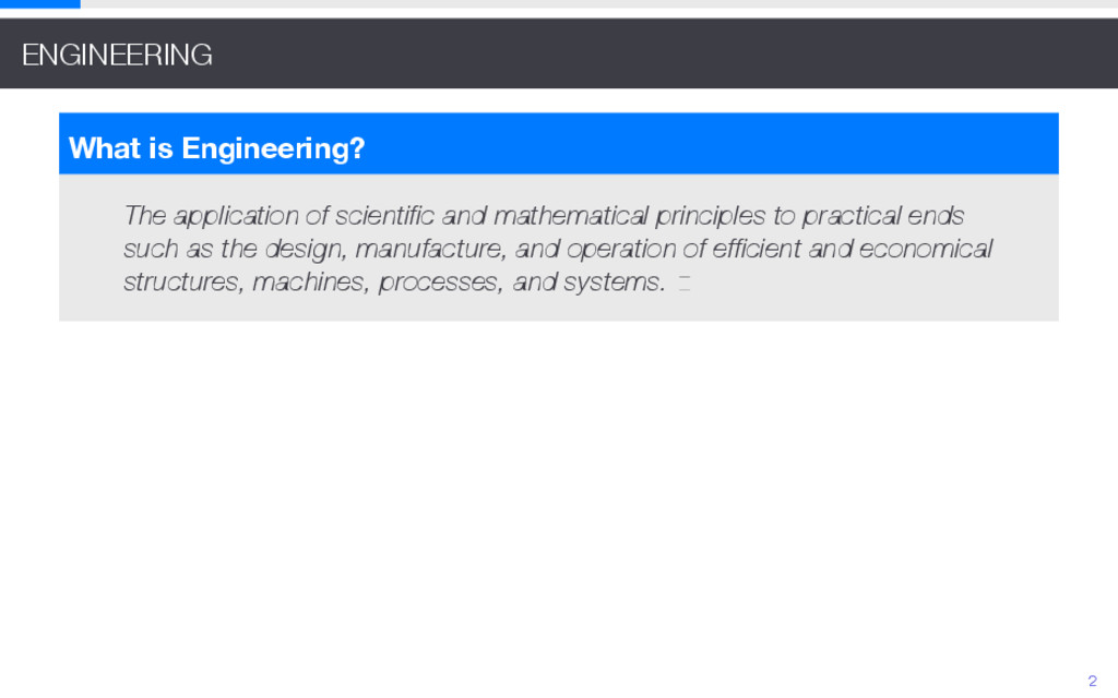 ENGINEERING What is Engineering? The applicatio...