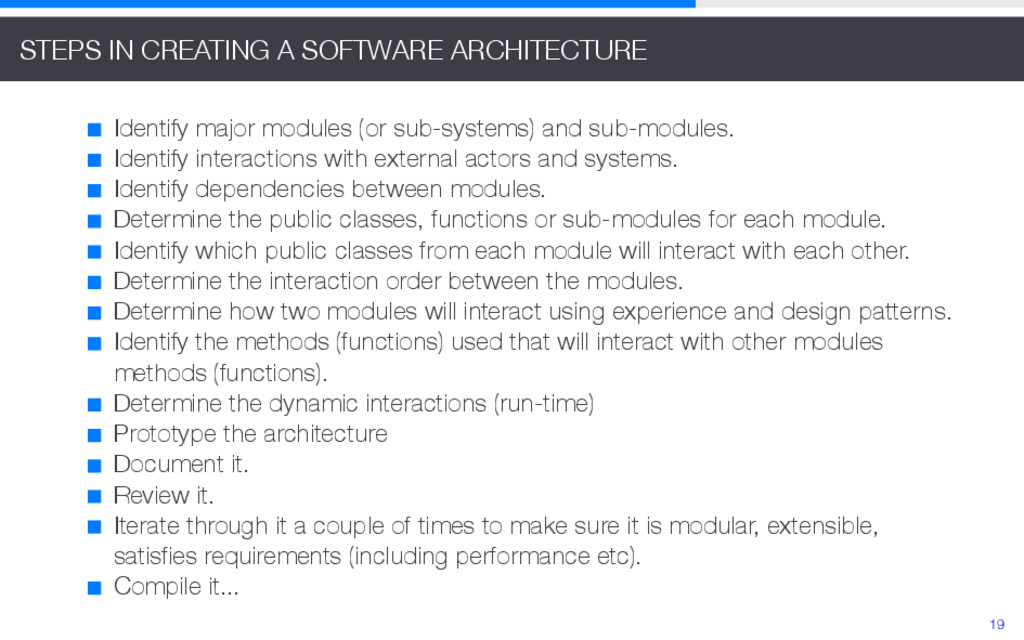 STEPS IN CREATING A SOFTWARE ARCHITECTURE Ident...