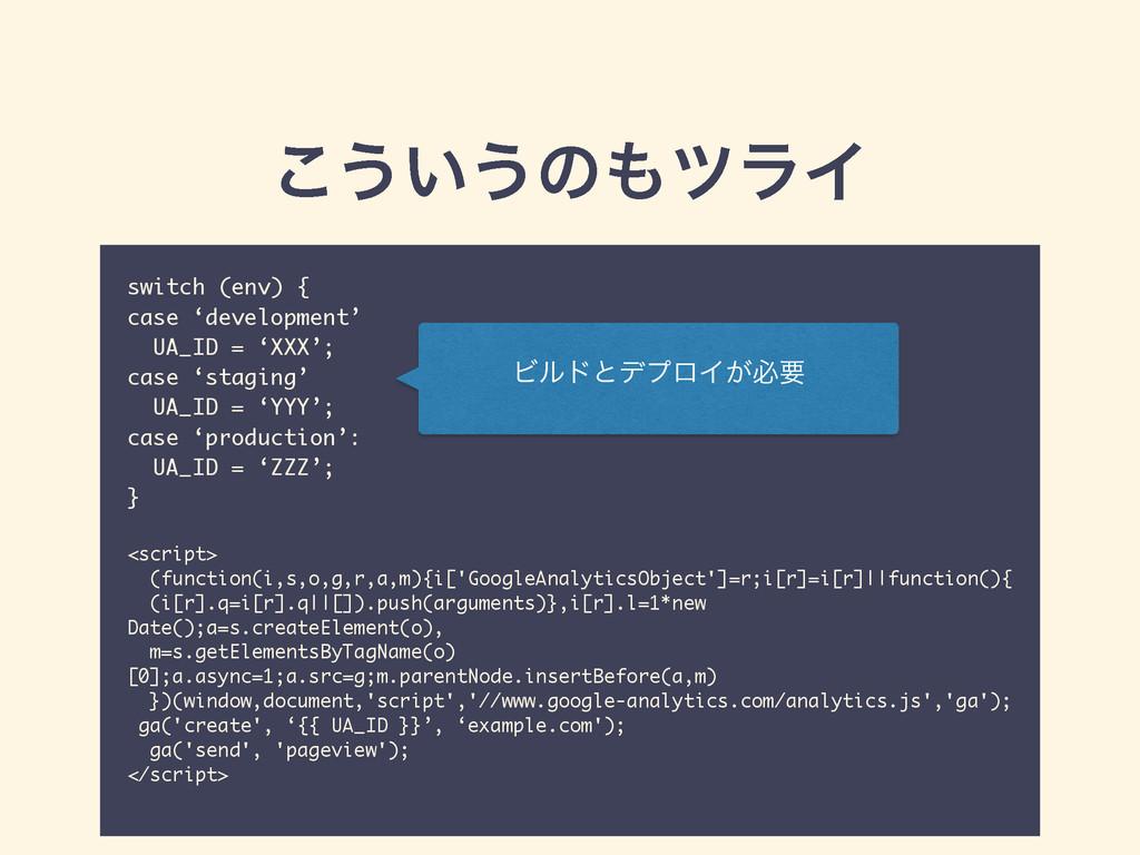 ͜͏͍͏ͷπϥΠ switch (env) { case 'development' UA_...
