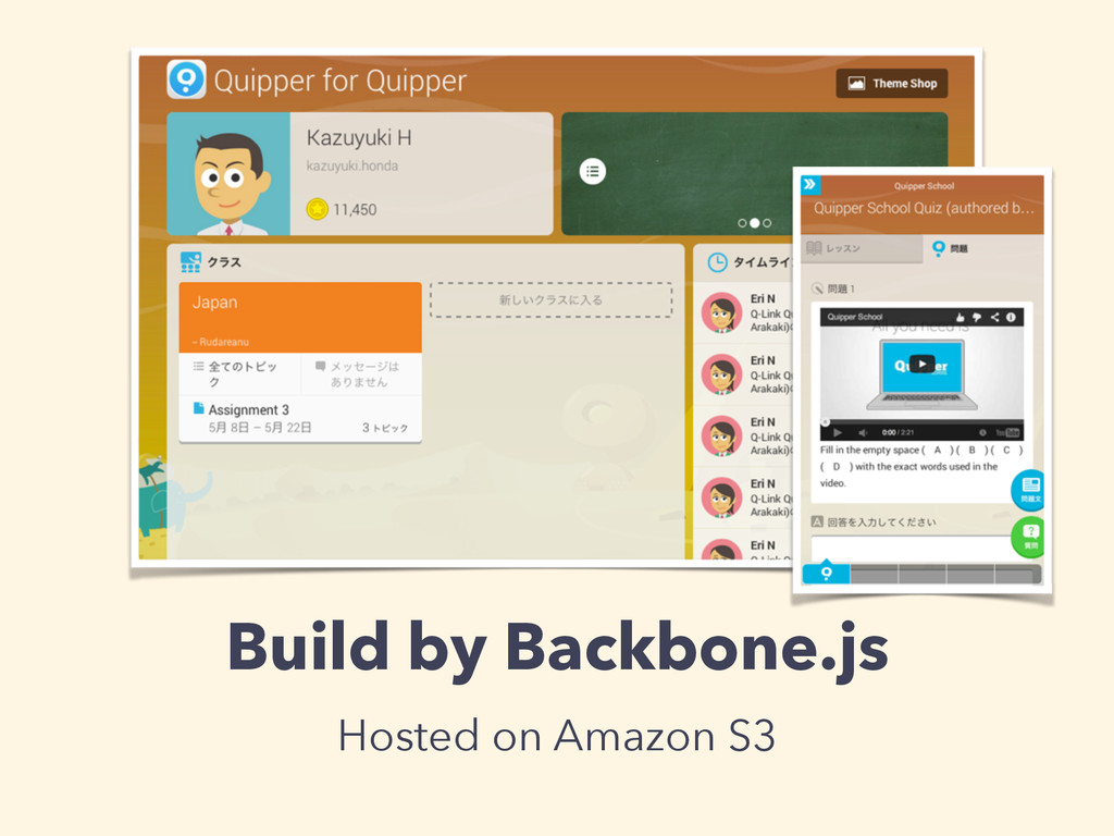 Build by Backbone.js Hosted on Amazon S3