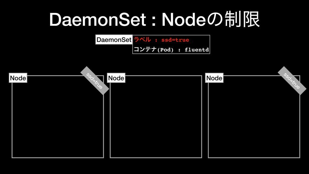 DaemonSet : Nodeͷ੍ݶ Node Node Node ϥϕϧ : ssd=tr...