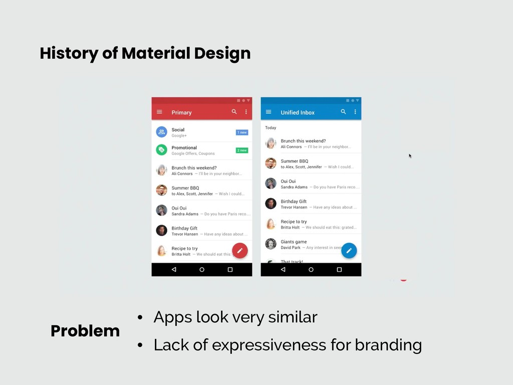 History of Material Design Problem • Apps look ...