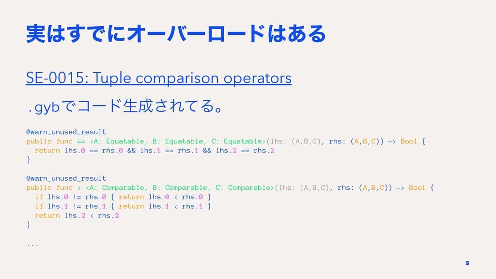 ࣮͢ͰʹΦʔόʔϩʔυ͋Δ SE-0015: Tuple comparison opera...