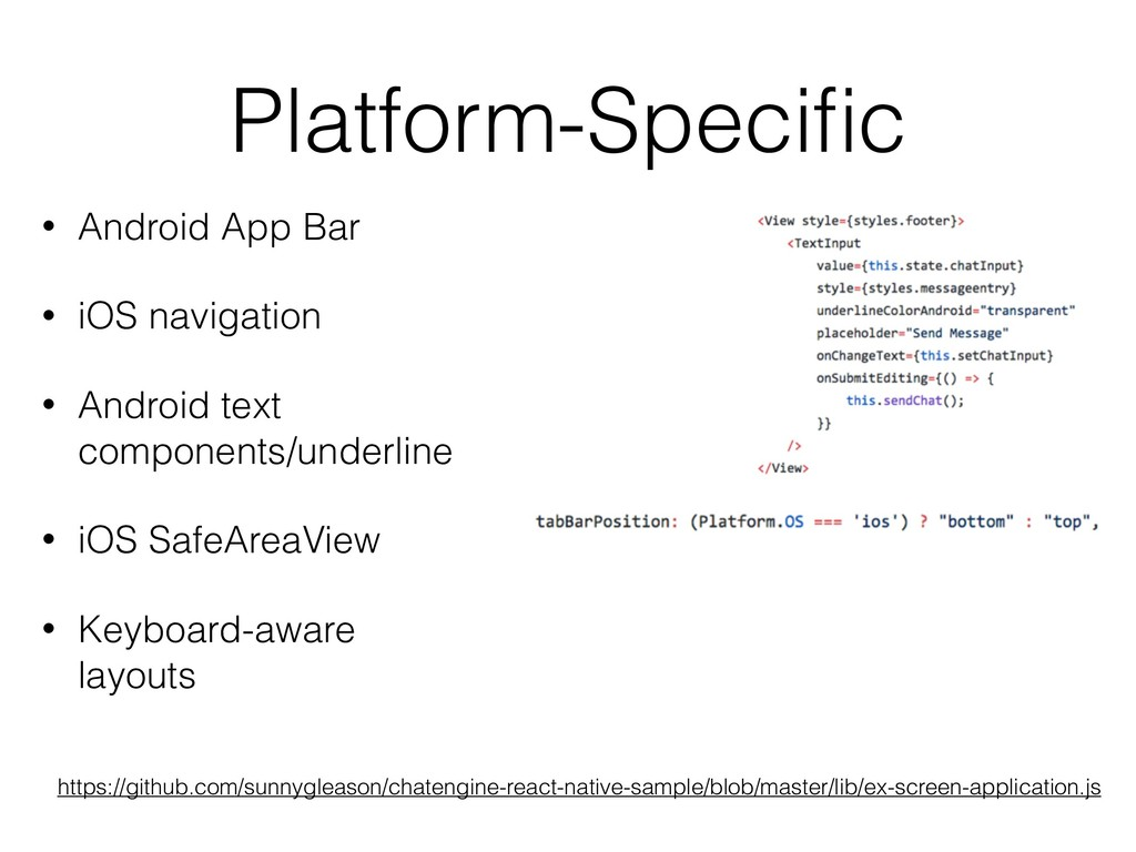Platform-Specific • Android App Bar • iOS naviga...