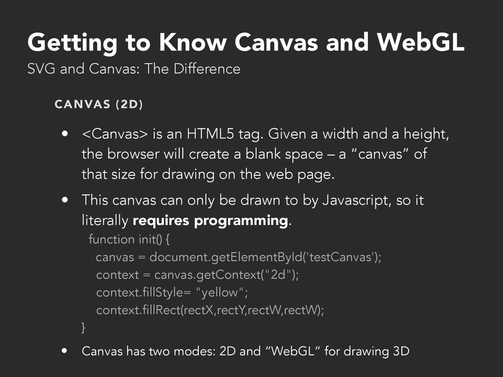 Getting to Know Canvas and WebGL SVG and Canvas...