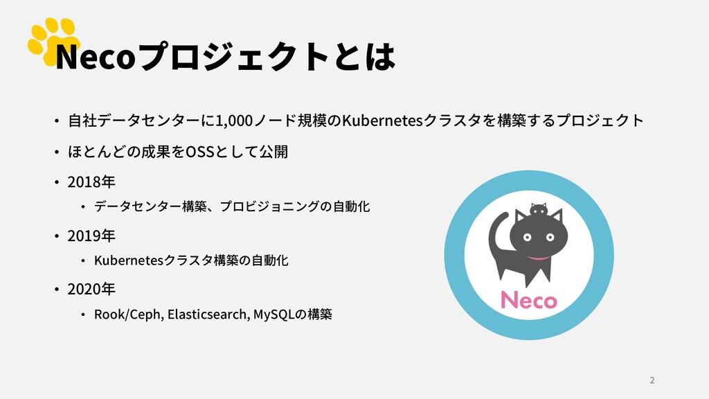 Necoプロジェクトとは • ⾃社データセンターに1,000ノード規模のKubernetesク...