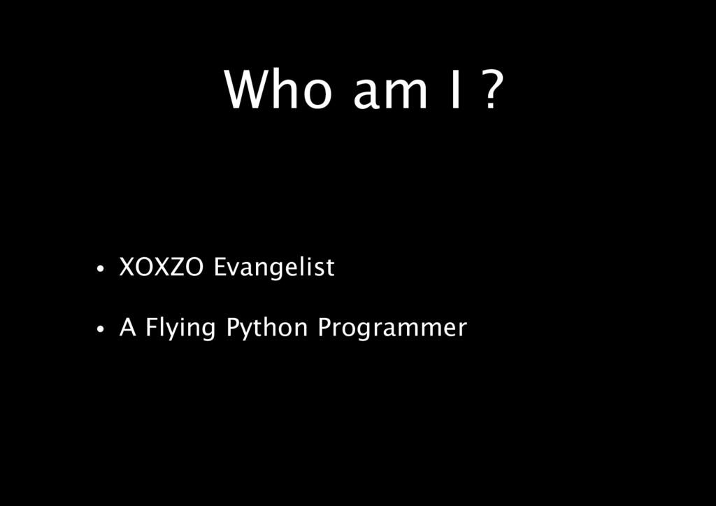 Who am I ? • XOXZO Evangelist • A Flying Python...