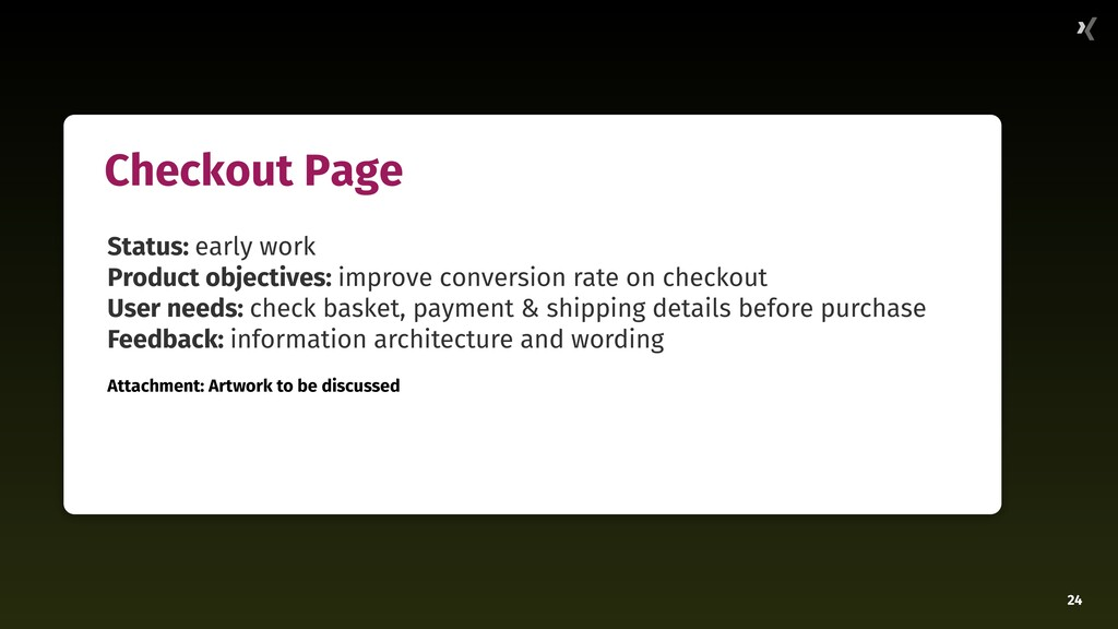 24 Checkout Page Status: early work Product obj...