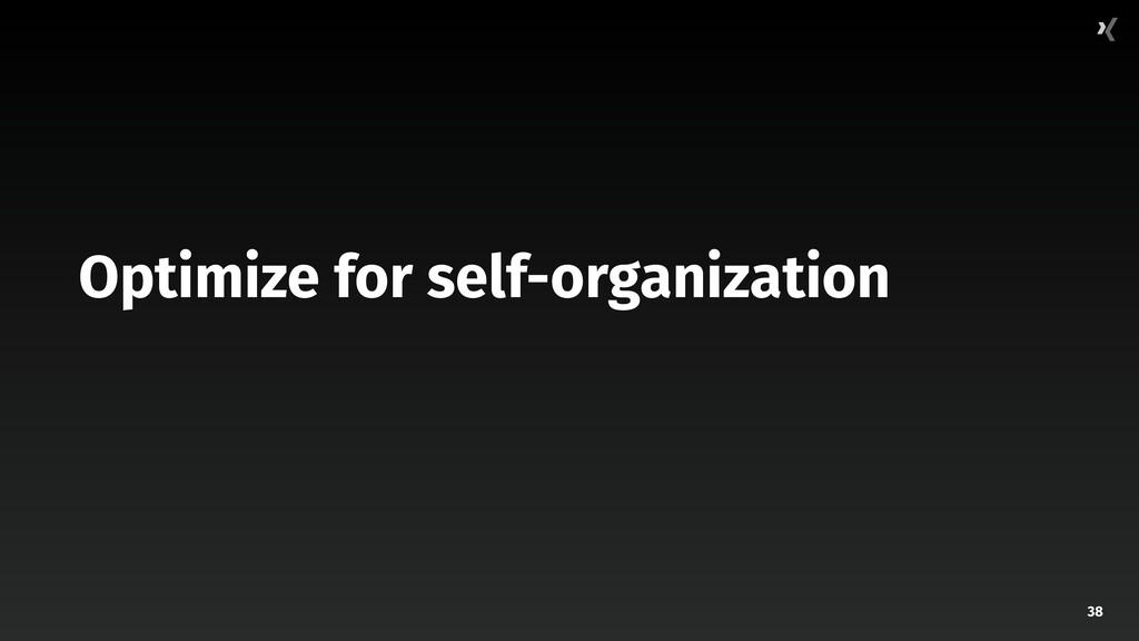 38 Optimize for self-organization