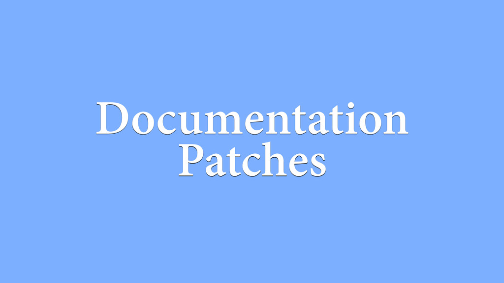 Documentation Patches